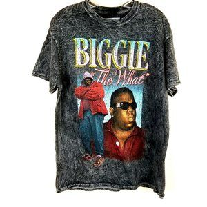 """NEW """"BIGGIE The What"""" Faded Wash Distressed Graphi"""